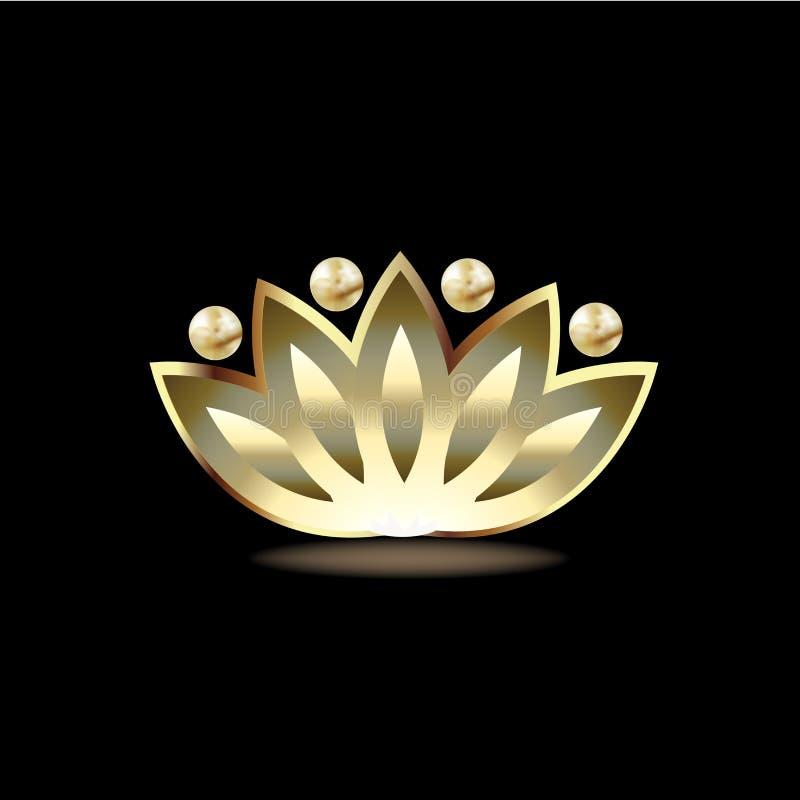 Logo Gold Lotus People Flower Spa Symbol Yoga Vector Image