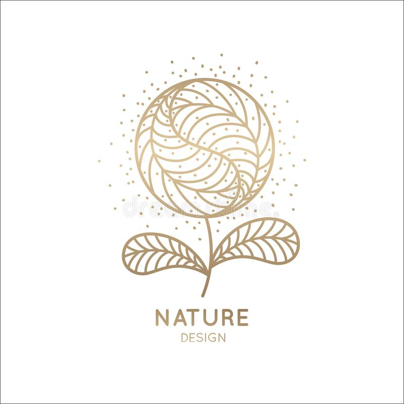 Logo golden flower. Flower logo in linear style. Abstract round flower with petals. Outline emblem for design of natural products, flower shop, cosmetics and stock illustration
