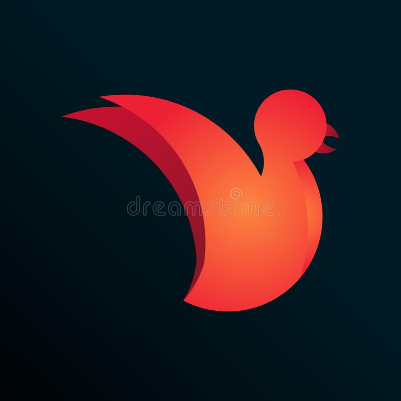 A logo with golden Ratio bird. Vector illustration of bird logo design template made with golden ratio principles stock illustration