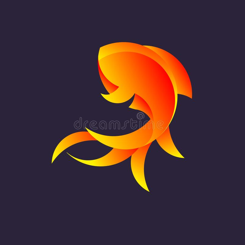 Logo with a golden ratio, goldfish royalty free illustration
