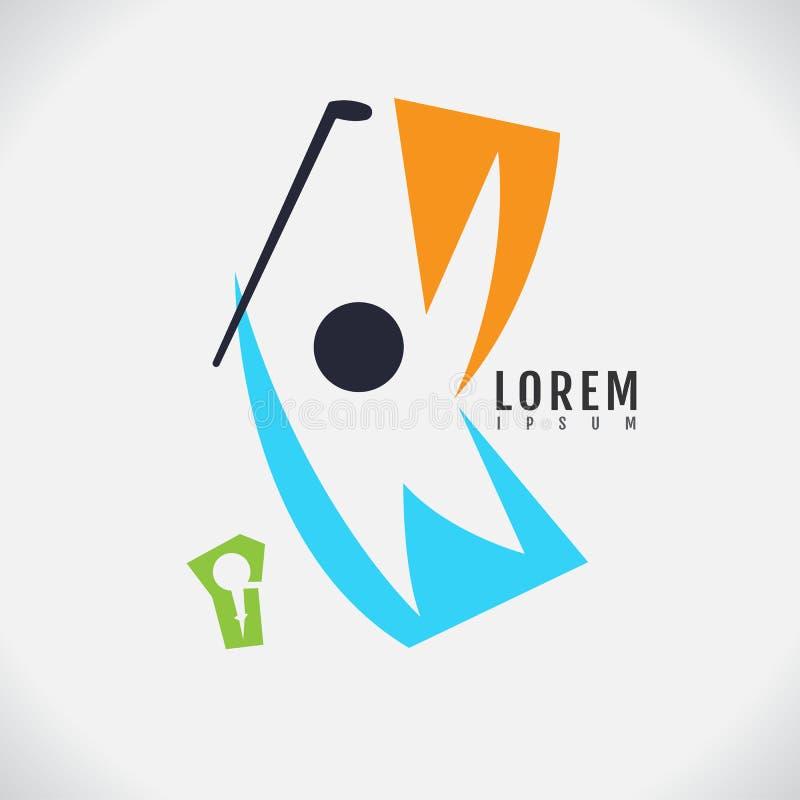 Logo Golf-modern het ontwerpmalplaatje van de spelerpersoon gelukkige menselijke figu royalty-vrije illustratie
