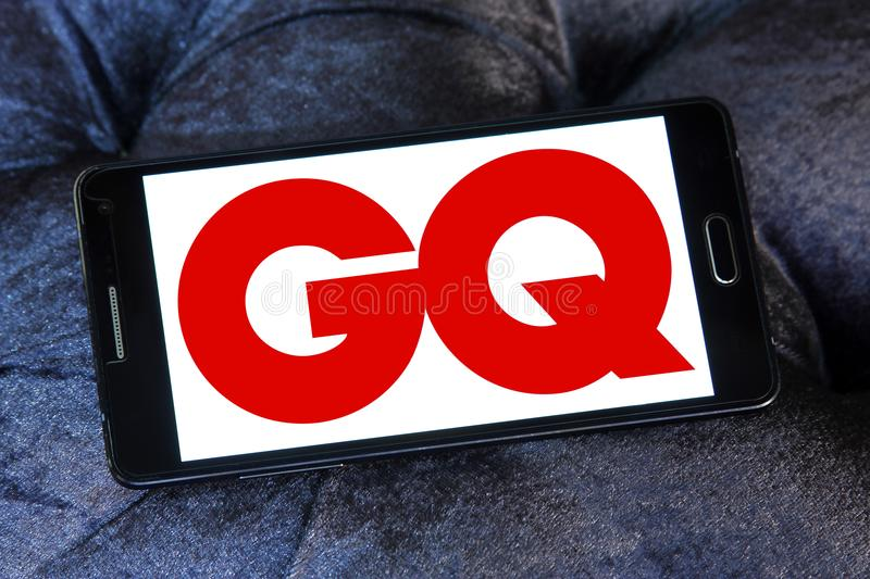 GQ magazine logo. Logo of GQ magazine on samsung mobile. GQ is an international monthly men`s magazine. The publication focuses on fashion, style, and culture royalty free stock photos