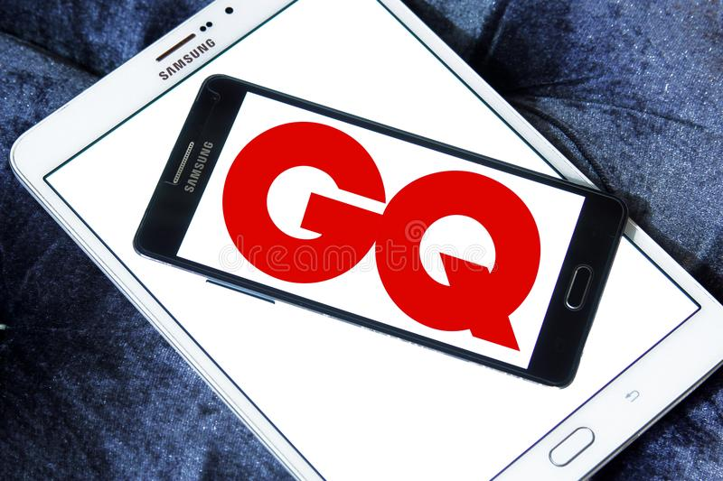 GQ magazine logo. Logo of GQ magazine on samsung mobile. GQ is an international monthly men`s magazine. The publication focuses on fashion, style, and culture royalty free stock photography