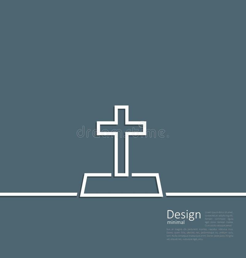 Logo of gravestone in minimal flat style line. Illustration logo of gravestone in minimal flat style line - vector vector illustration