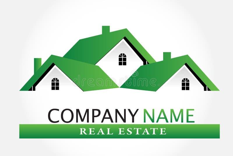 Green houses real estate logo vector image royalty free illustration