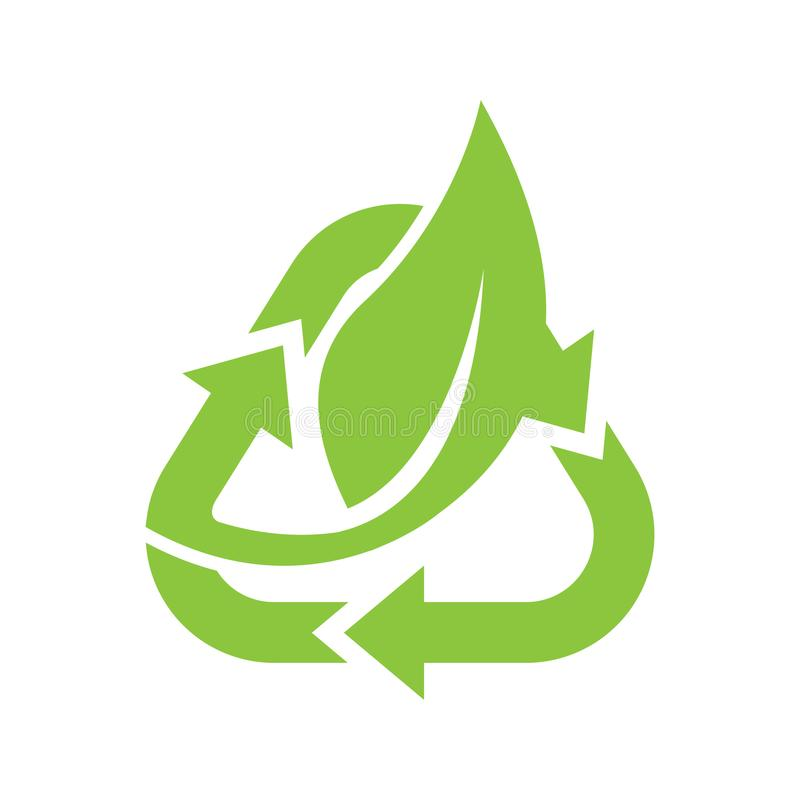 Logo of green leaf with recycle shape ecology nature element vector icon. Design shape leaf logo and abstract organic leaf logo. Leaf logo eco graphic creative vector illustration