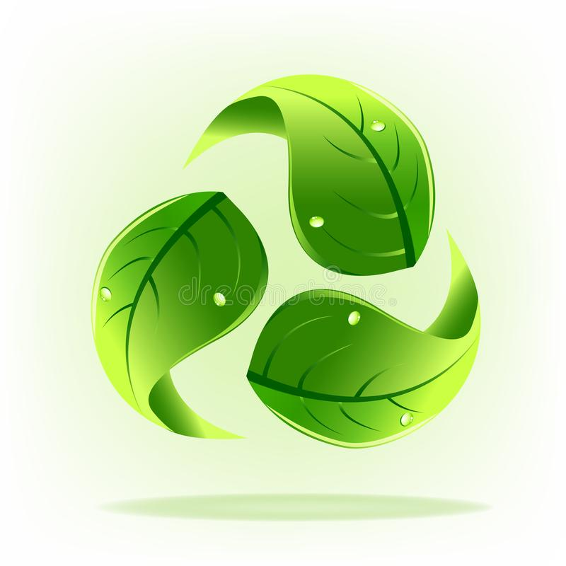 Logo green leafs recycle symbol vector vector illustration