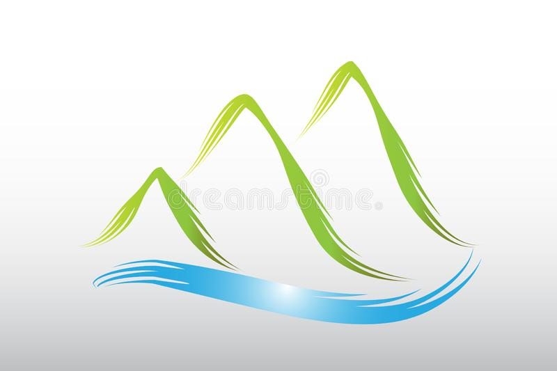 Logo green mountains alps and lake vector icon stock illustration