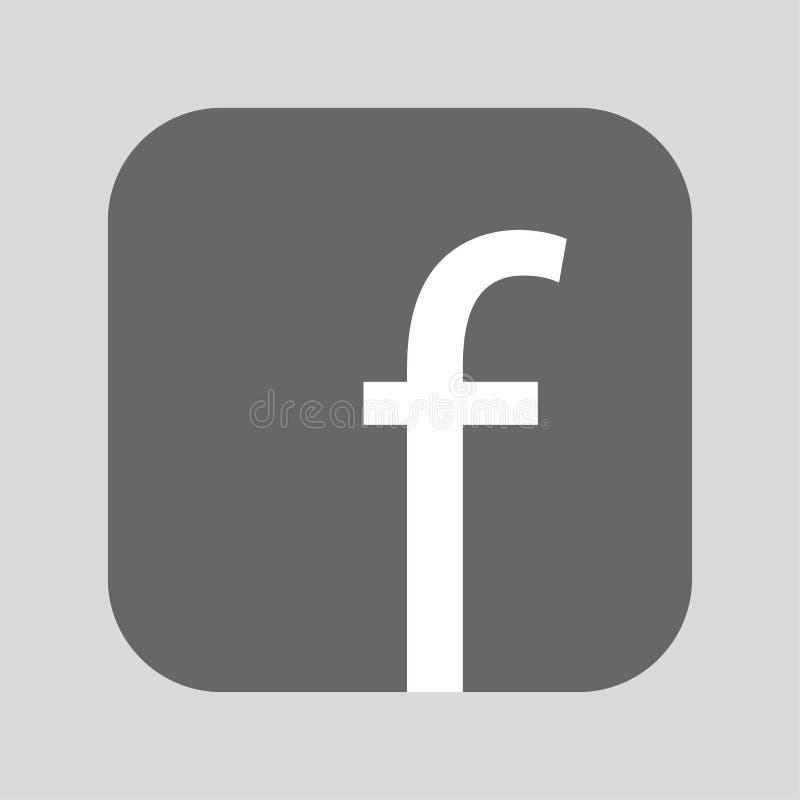 Logo gris de bouton de place avec l'intérieur blanc de f Vecteur eps10 de bouton de F sur le fond gris illustration libre de droits