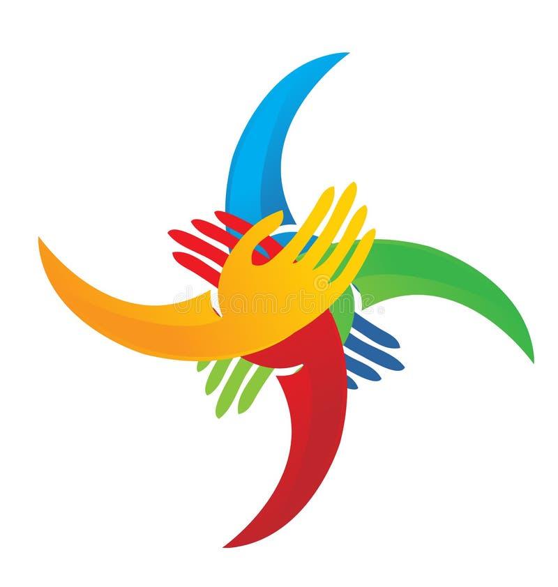 Logo group of hands joining to make change. Vector design vector illustration