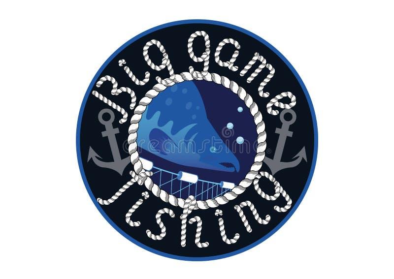Logo grubej zwierzyny połów ilustracja wektor
