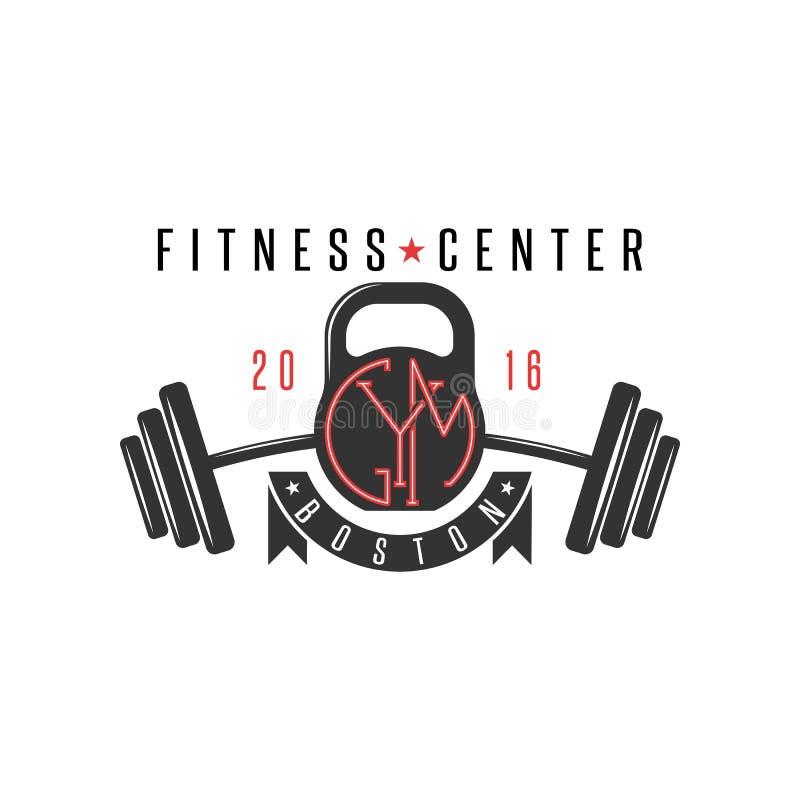 Logo gym modniś, kettlebell i sportowy barbell, bawimy się styl życia emblemata mockup, bodybuilding etykietka royalty ilustracja