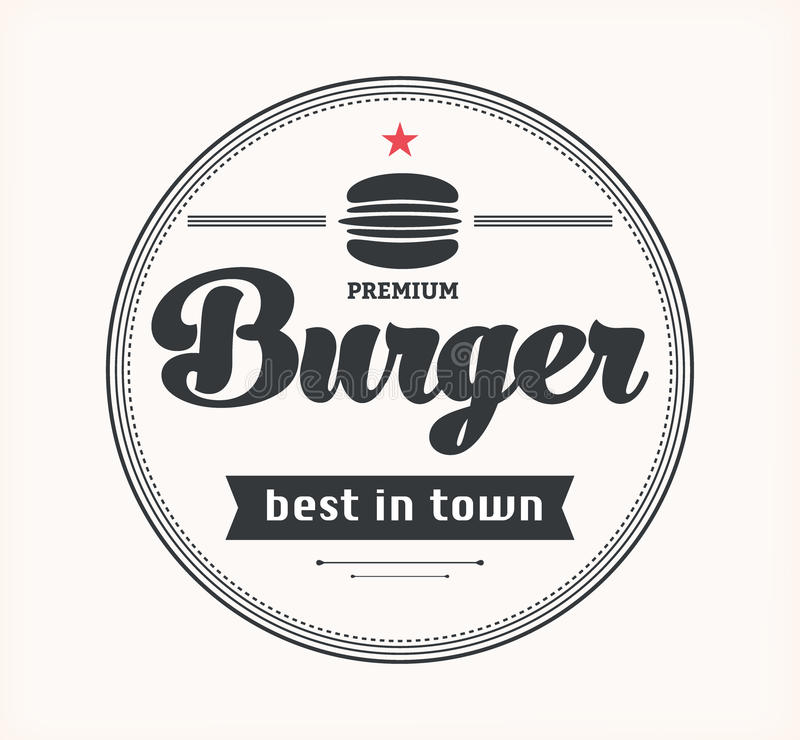 Logo with hamburger. Vector vintage fast food logo. Retro burger. Bistro icon. Eatery emblem with hamburger vector illustration