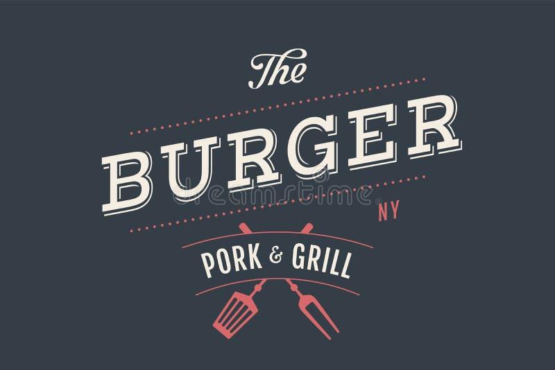 Logo hamburgeru bar royalty ilustracja