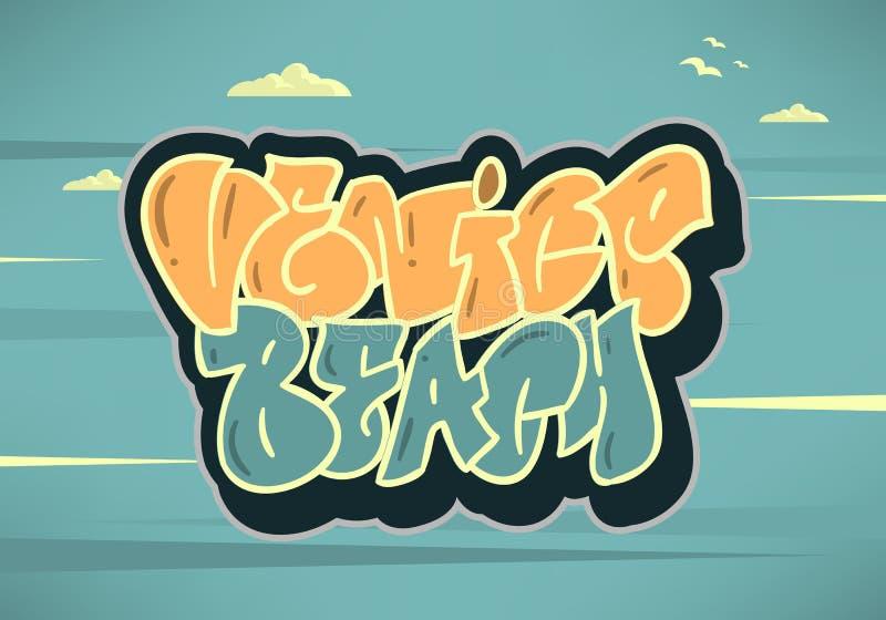 Logo Hand Drawn Lettering Modern för Venice Beach Los Angeles Kalifornien etiketttecken kalligrafi för t-skjorta eller sticke royaltyfri illustrationer