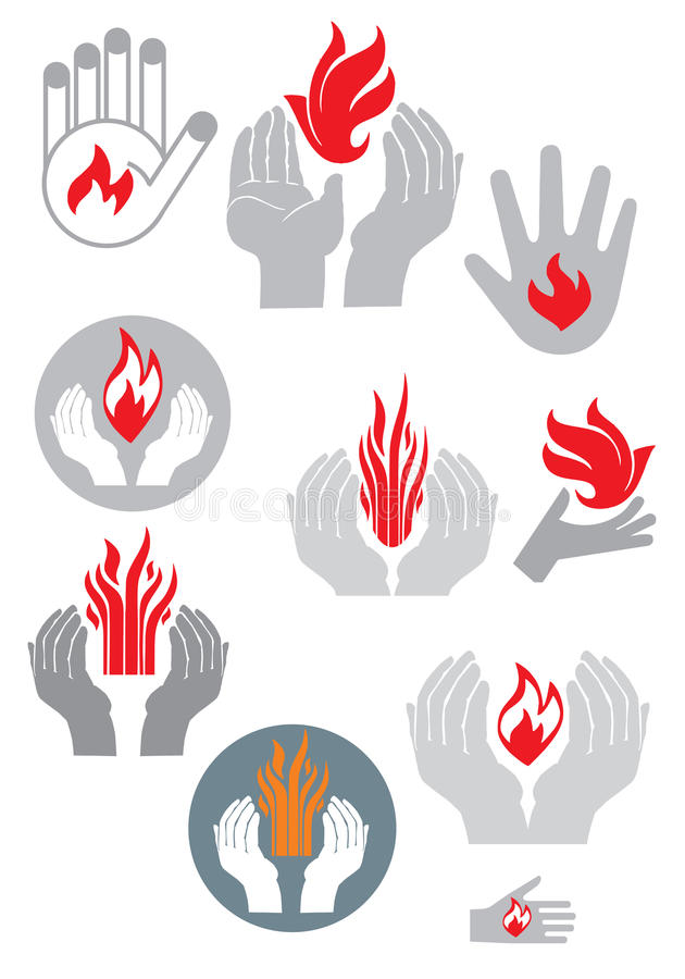 Download Logo. Hands And Fire. (vector Set) Stock Vector - Image: 35595725
