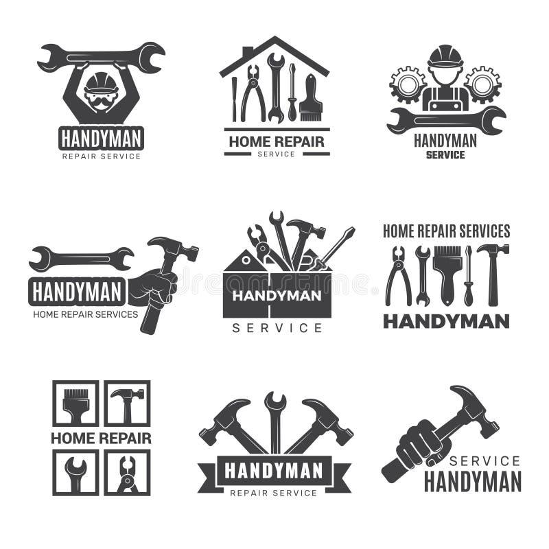 Logo Handymana Pracownik z wyposażeniem obsługującym symbole wektora ręcznego śrubokręta wykonawcy ilustracji