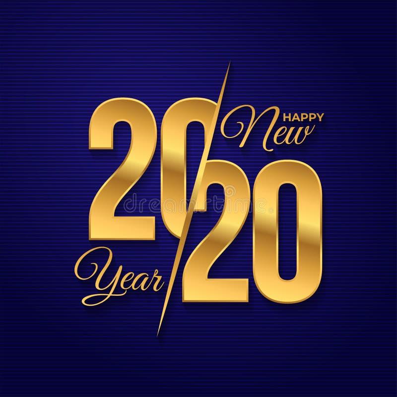 Logo Happy New Year 2020 Gráficos del texto de la celebración Cubierta del diario del negocio para con los deseos Plantilla del d stock de ilustración
