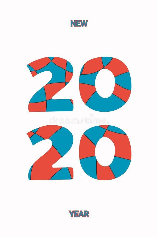 Logo Happy New Year 2020 Hälsningkort med inskriften 2020 för ditt orienteringsreklamblad och hälsningskort eller themed jul vektor illustrationer