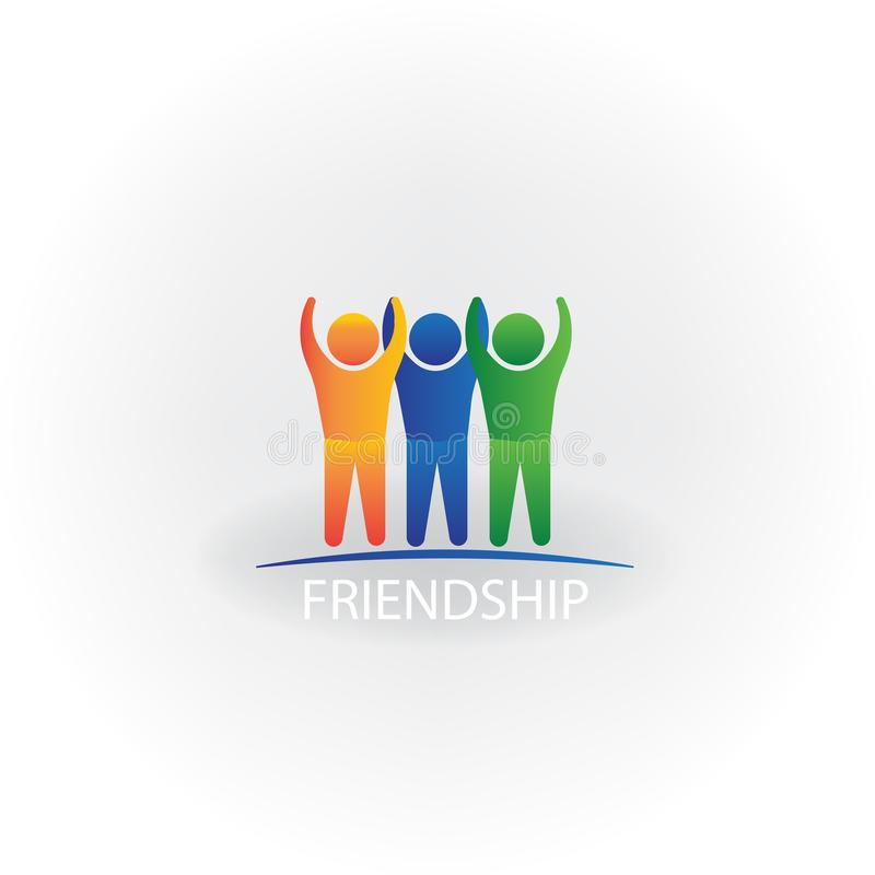 Logo happy successful people icon symbol of friendship vector image stock illustration