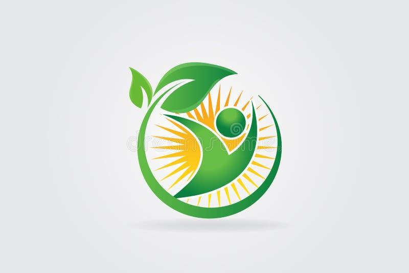 Logo health nature leaf with sun logotype royalty free illustration