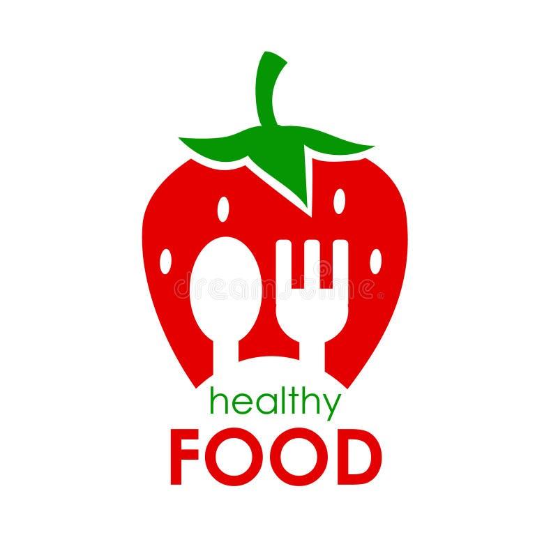 Logo Healthy Food Vektorillustration von Erdbeeren lizenzfreie abbildung