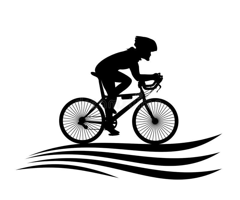 Logo Healthy Lifestyle Cyclistes à vélo - illustration de vecteur