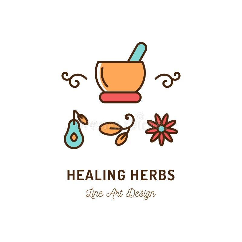 Logo heilende Therapieikonen, Ayurvedic-Medizin, Schönheit und Cosmetology Dünne Linie Kunstikone, Vector flache Illustration lizenzfreie abbildung