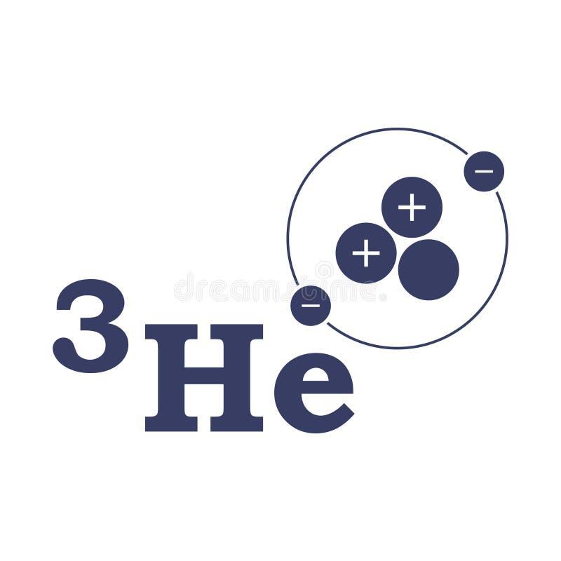 Logo Helium 3 De structuur van het atoom Vector op witte achtergrond vector illustratie