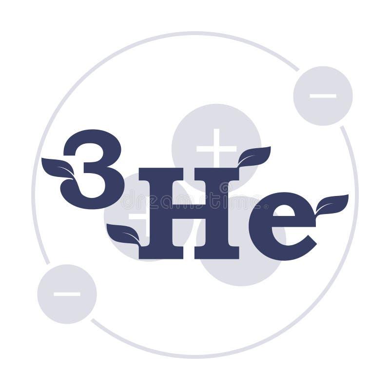 Logo Helium 3 Die transparente Struktur des Atoms im Hintergrund der Formel Vektor auf wei?em Hintergrund lizenzfreie stockfotografie