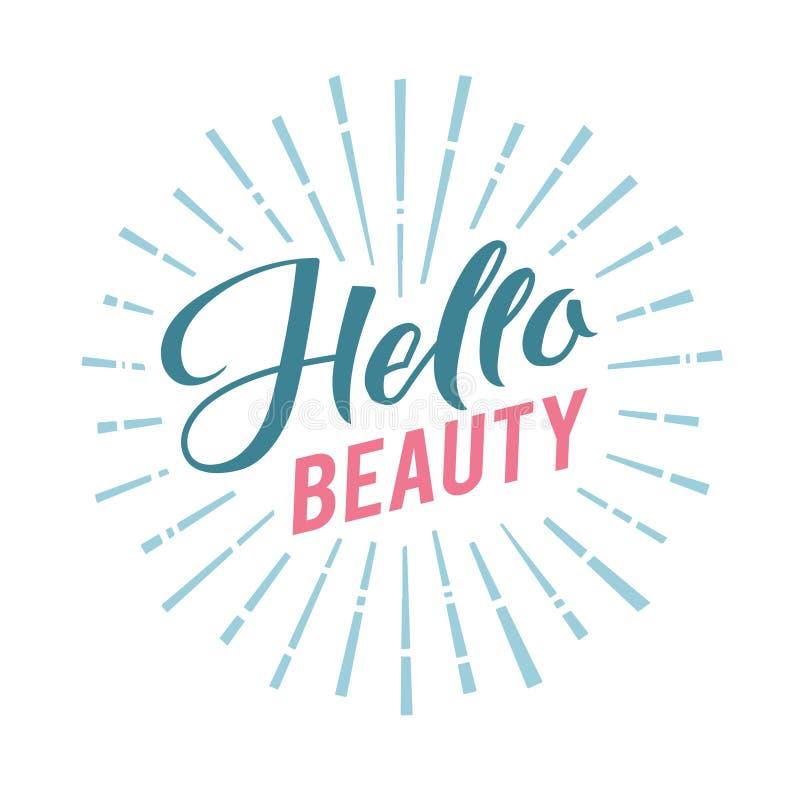 Logo Hello Beauty Vector Lettering. Custom handmade calligraphy. Vector Illustation royalty free illustration