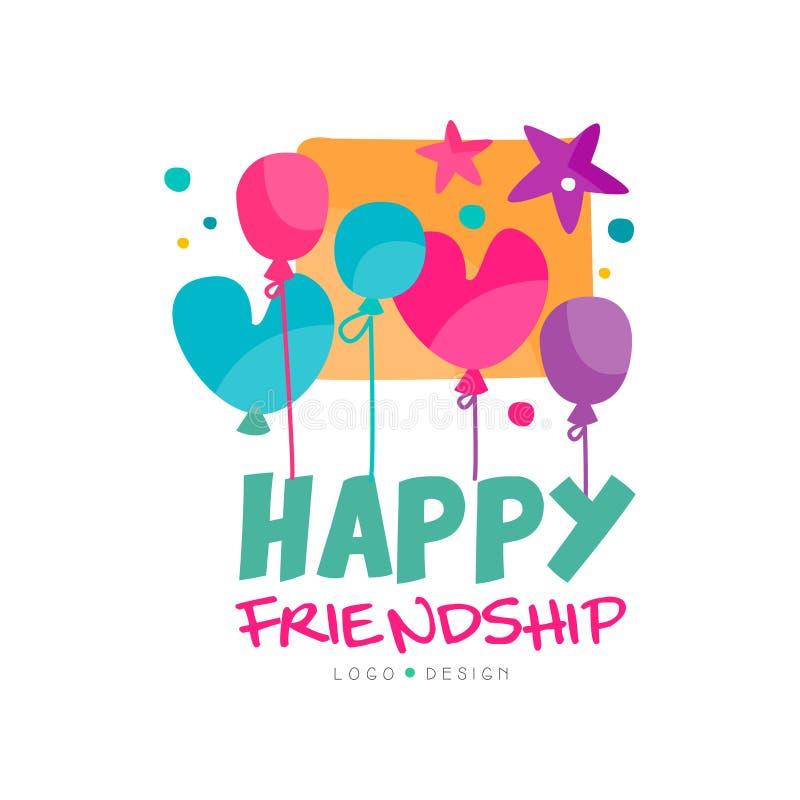 Logo heureux d'amitié avec les ballons et les étoiles colorés Conception typographique de vecteur pour le promo de festival, cart illustration stock