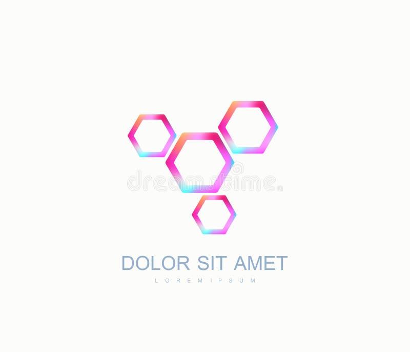 Logo hexagonal de la génétique de la science, hélice d'ADN Analyse génétique, ADN biotechnologique de code de recherches Chromoso illustration stock