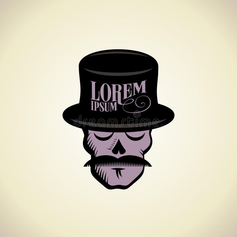 Logo with hipster skull dressed in cylinder hat. vector illustration