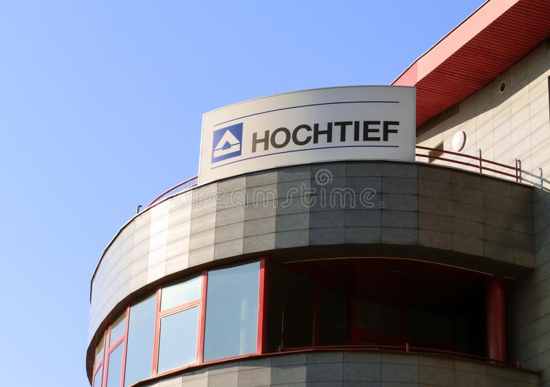 The logo of the Hochtief company on a building of the Czech branch in Ostrava. OSTRAVA, CZECH REPUBLIC - JUNE 5, 2019: The logo of the Hochtief company on a stock photography