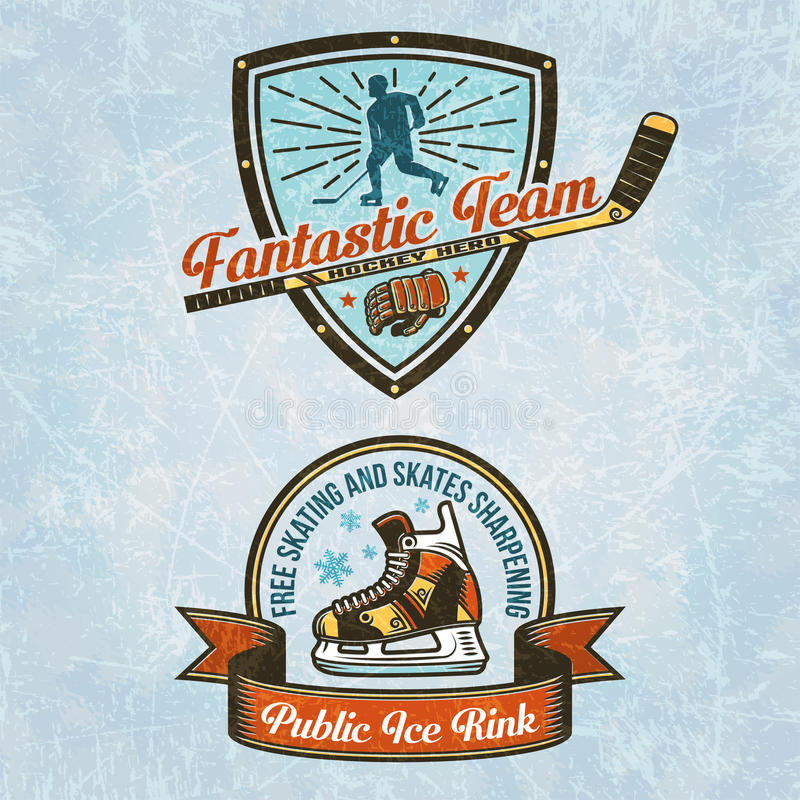Logo of the hockey team. Logo of the ice rink. Hockey emblems in vintage style. Texture of ice on separate layers and easily disabled vector illustration
