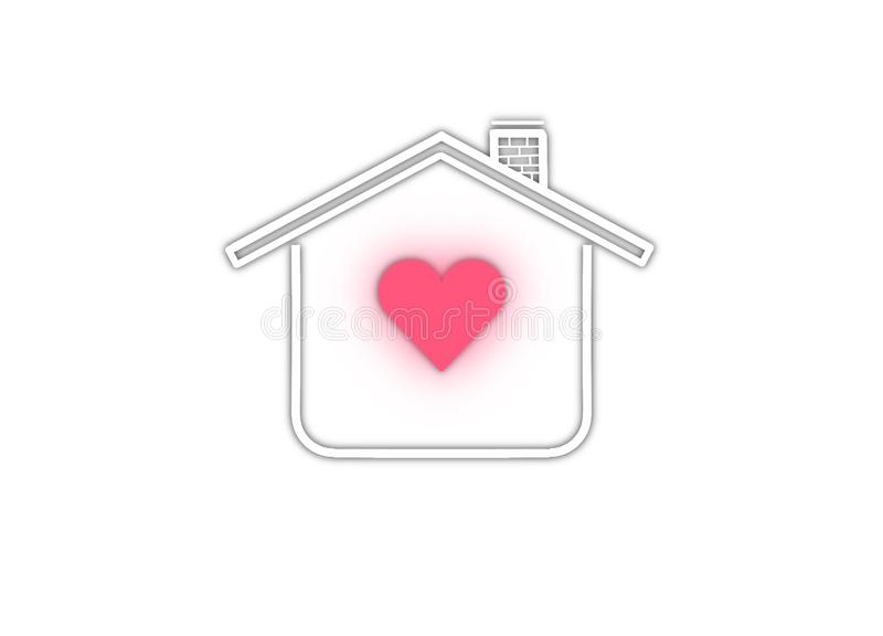 Logo home with heart safe care love house royalty free stock photography