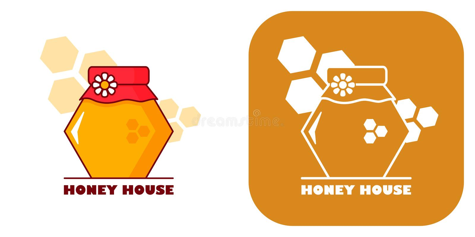 Flower honey house 2 variations. Logo for honey shop or apiary. Depicted in the form of a Bank of honeycombs with a flower. Two variations vector illustration