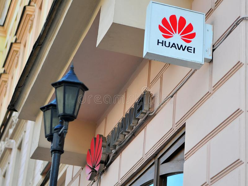 Logo of Huawei flagship store. MOSCOW, RUSSIA - MAY 02: Logo of Huawei flagship store in Tverskaya shopping street, Moscow on May 2, 2018 stock images