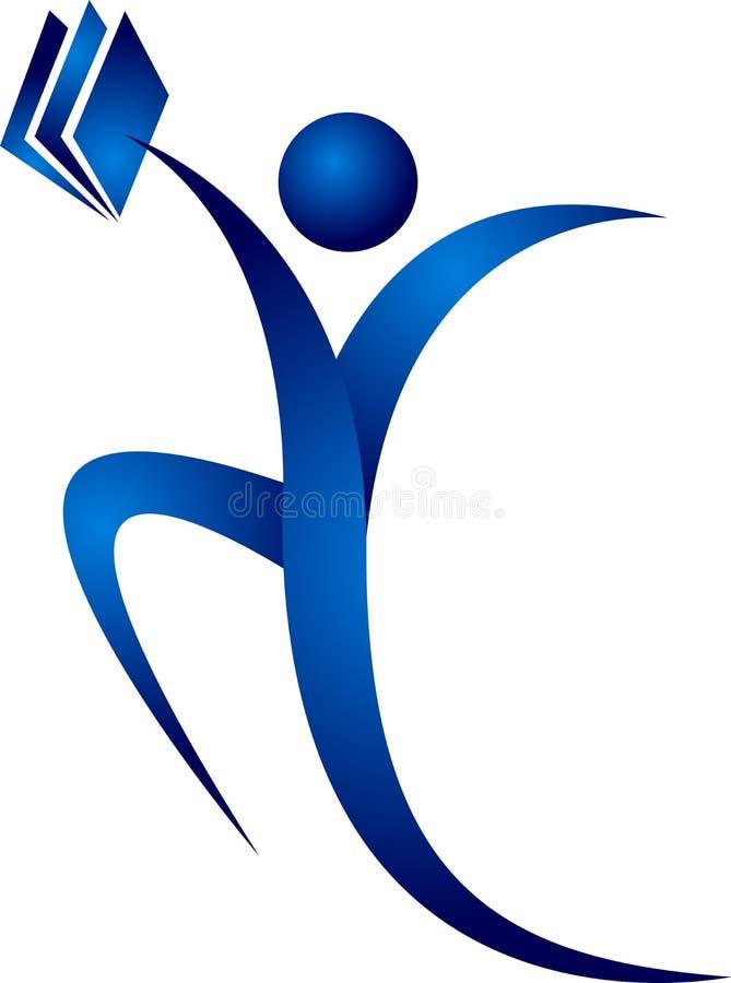 Logo humain de livre de main illustration stock