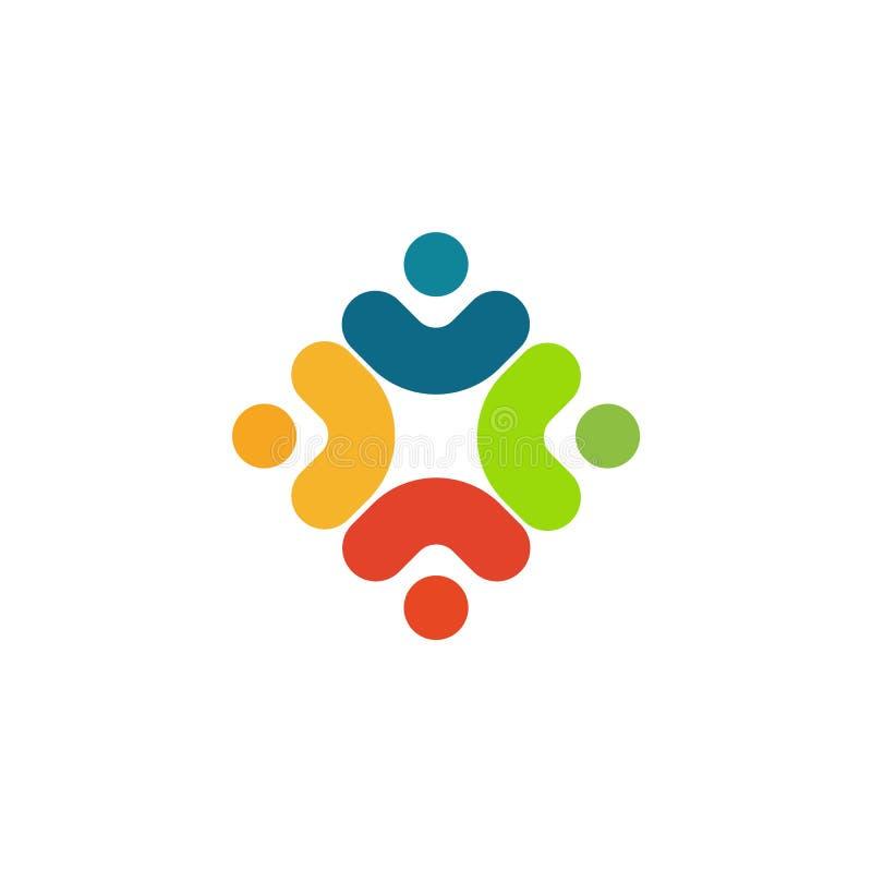 Logo humain, icône d'aide mutuelle, de personnes logotype abstrait ensemble Les gens soutiennent et espèrent le symbole Vecteur d illustration stock