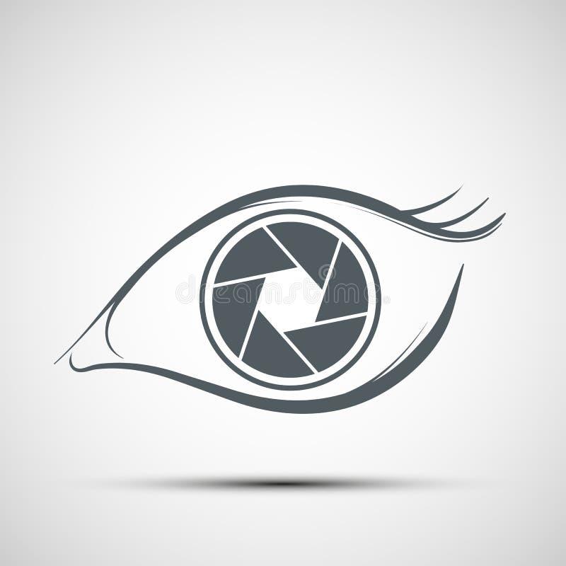Logo human eye in the form of lens. Aperture shutters. Stock vector illustration. stock illustration