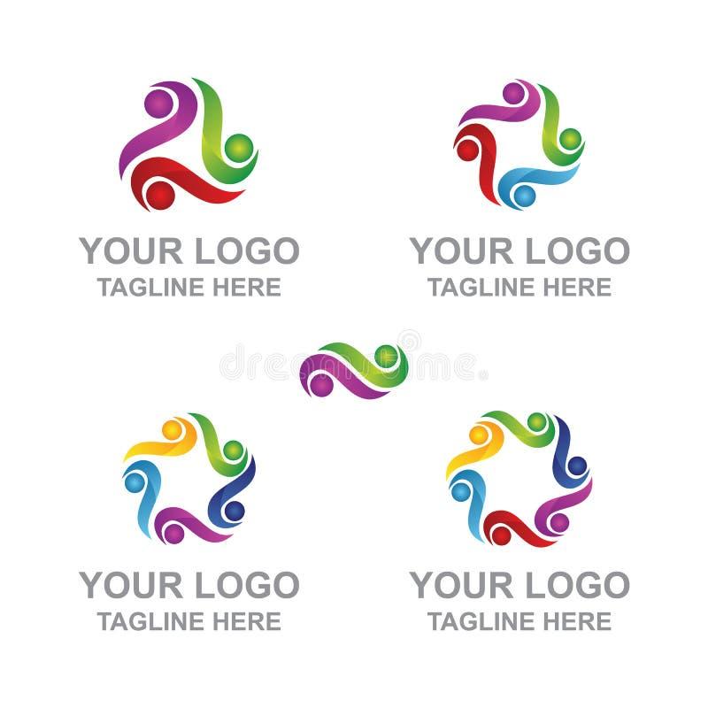 Logo Human Figure abstracto circular stock de ilustración