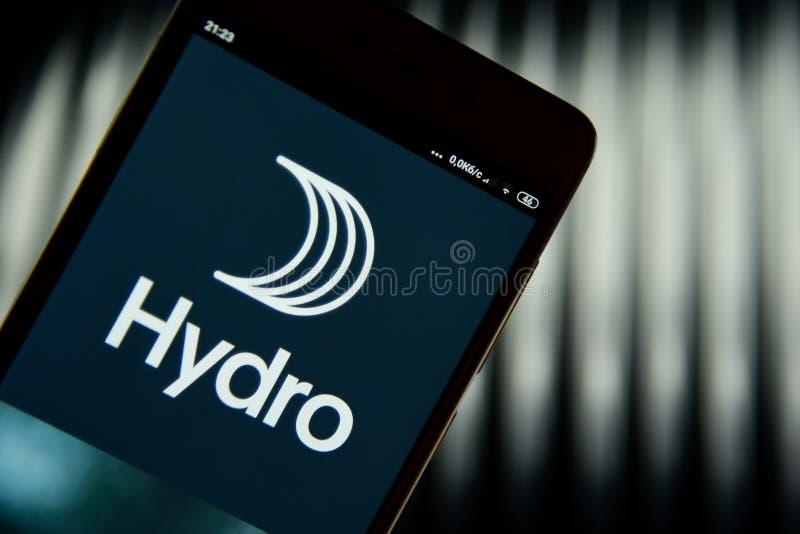 Logo hydraulique vu sur l'?cran de smartphone photos stock