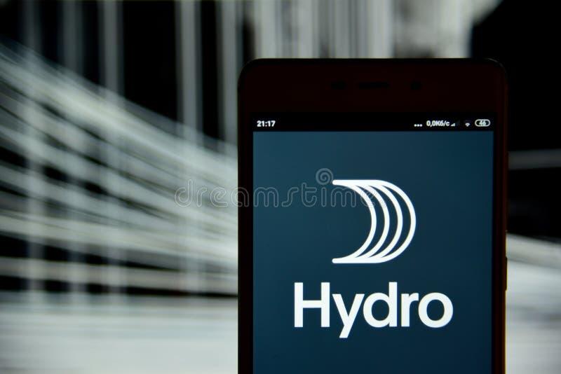 Logo hydraulique vu sur l'?cran de smartphone photographie stock