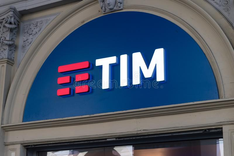 Logo i znak TIM S P A TELECOM ITALIA obraz stock