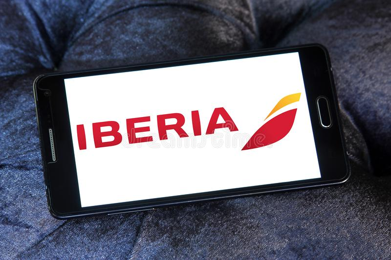Iberia Airlines logo. Logo of Iberia Airlines on samsung mobile. Iberia is the flag carrier airline of Spain stock images
