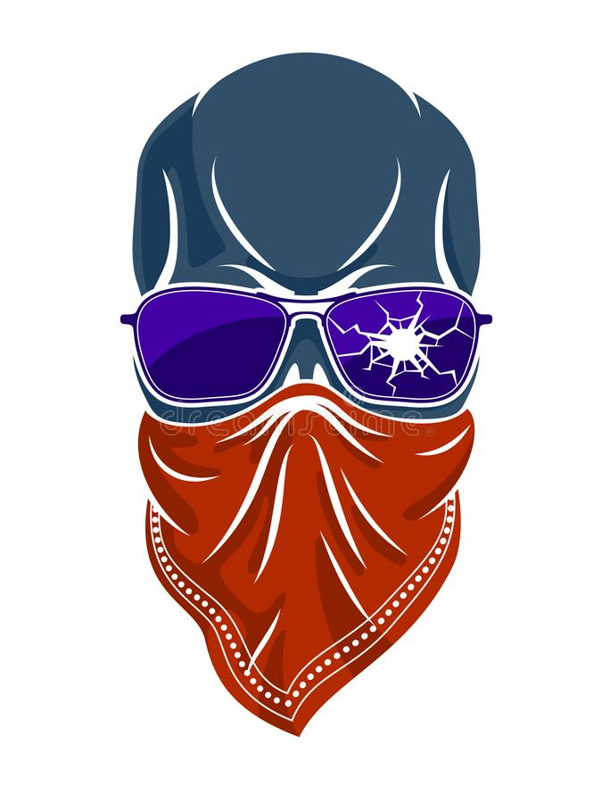 Logo, icône ou tatouage de vecteur de crâne de bandit illustration stock