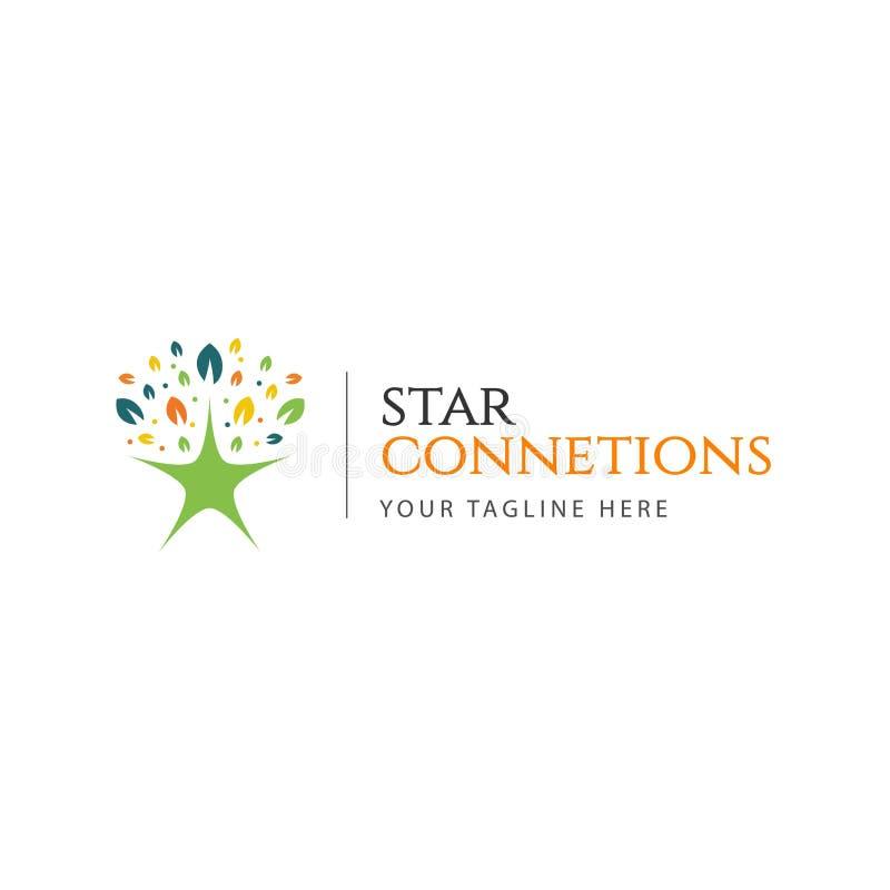 Star Connections Logo Vector Template Design Illustration stock illustration