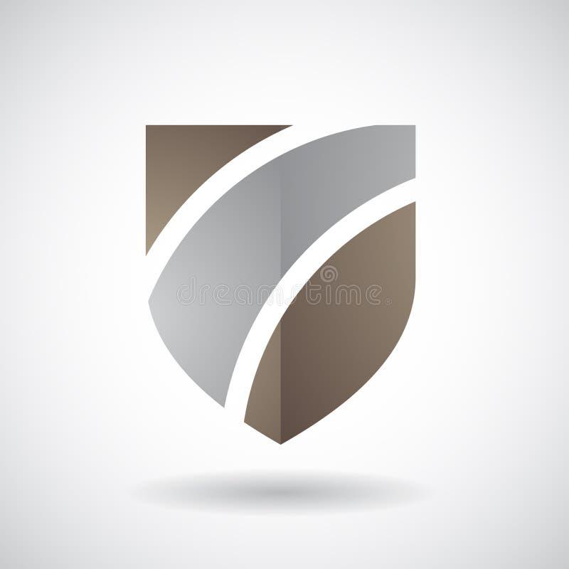 Logo Icon einer gestreiften Schild-Vektor-Illustration stock abbildung